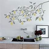 LEMON BRANCH - Wall STENCIL, Reusable - DIY Home Decor ...