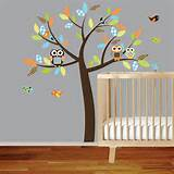 Vinyl Wall Decal Stickers Owl Tree Set Nursery Boy Baby Textured wall ...