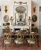 French Country Dining Room. pink walls, blue decor, wall sconces. art ...