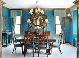 ... Dining Room Decor In A Classic Style With Blue Color Wall Decoration