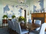 Blue dining room with murals wall decor eclectic home decor ideas