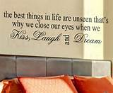 Wall Art Decal Sticker Quote Vinyl The Best Things in Life Kiss Laugh ...