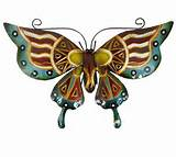 ... Metal Hanging Garden Home Wall Art Large Butterfly in 3 Colour Design