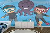 ... Octopus Divers Childrens Wallpaper Wall Mural | MuralsWallpaper.co.uk